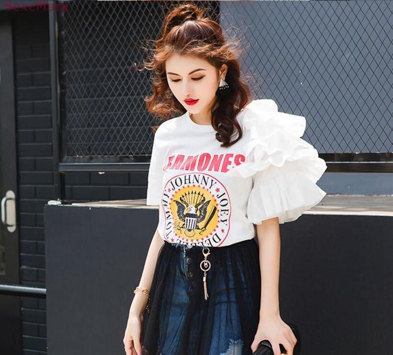 7019a27bd  BIG SALE  CHEAP SexeMara Lotus leaf short sleeve T-shirt lace free  shipping