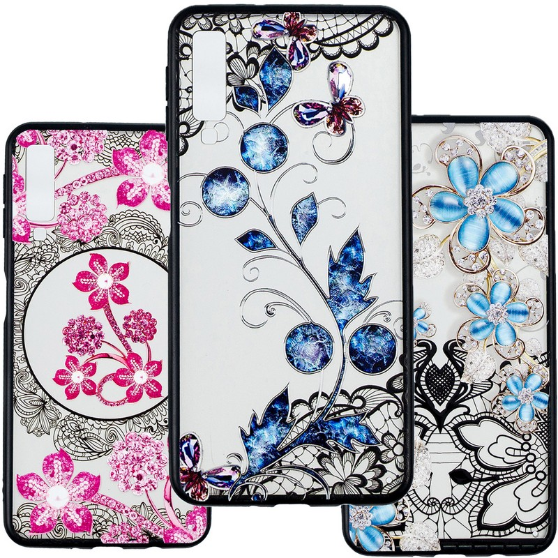 For Samsung Galaxy A7 2018 Case 3D diamond Cover Phone Case For Samsung A7 2018 A750F A750 SM-A750F A 7 <font><b>A72018</b></font> Case Soft 6.0inch image