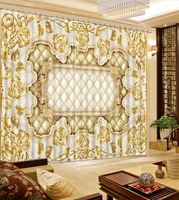 European Style Design Curtain Hooks Gold Rose 3D Curtains For Living Room Luxury Bedroom Curtains 3D