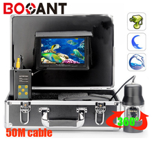 50m 360 Degree rotation SONY CCD PTZ Underwater video Camera with 7 Inch LCD moniot box Freeship
