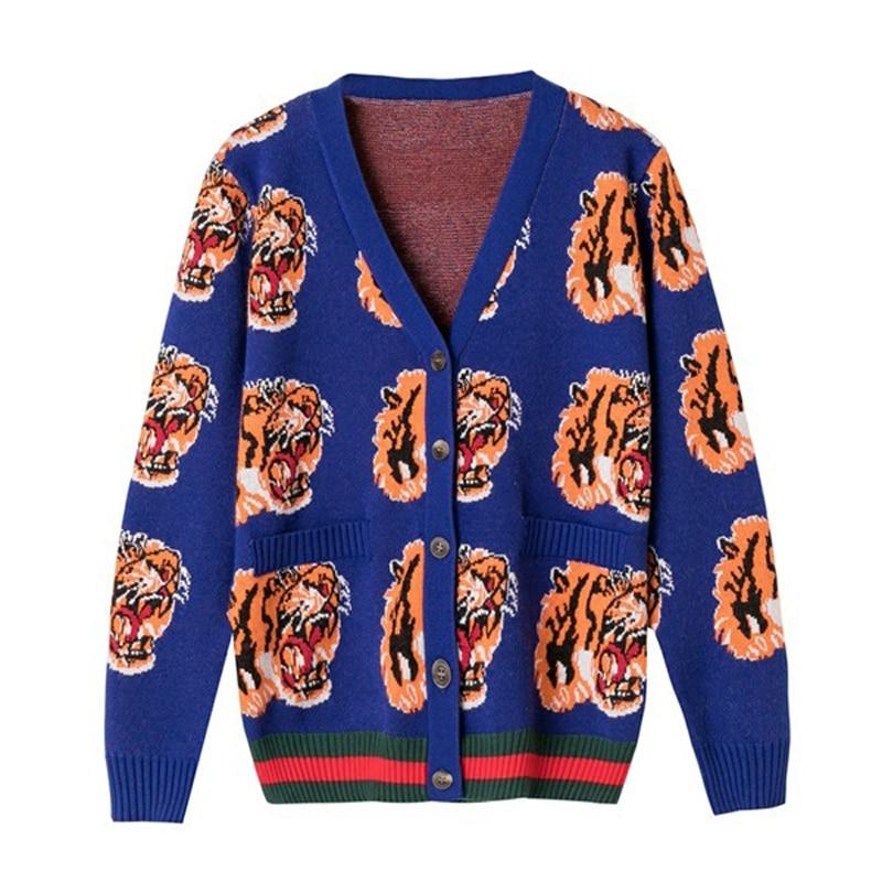 Bleu Luxe Designer Chandail Rose Broderie Qualité Tricoté pu Marque Laine De Haute rose Hiver Ciel Femmes Cardigans 2018 Tigre Bleu qVSzpUMG