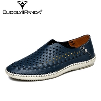 CuddlyIIPanda 2018 New Arrival Genuine Leather Men Loafers Hollow Out Summer Shoes Holes Sewing Flats Massage