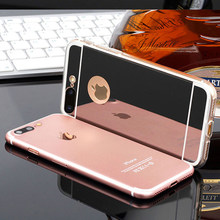 Hybrid Silicone Frame + Acylic Mirror Case For iphone X SE 5 5s 6 6s 7 8 Plus XR XS MAX Soft Cover Shining Back TPU Phone Cases(China)