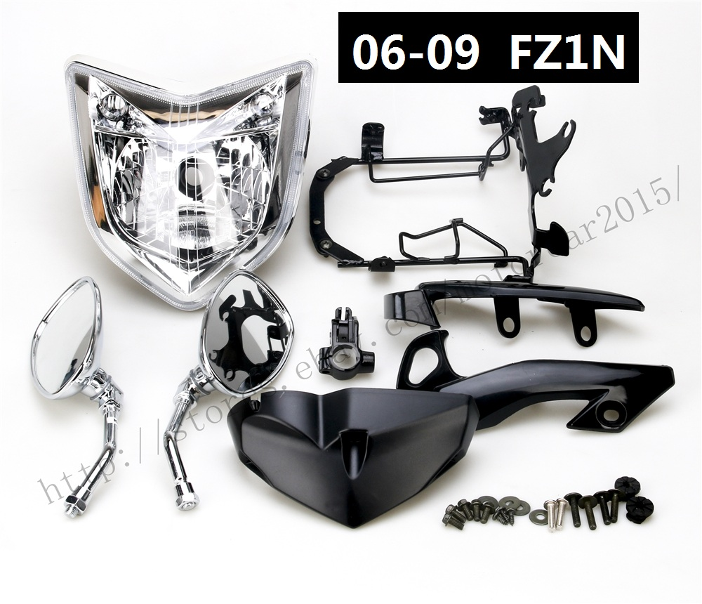 Motorcycle HEADLIGHT MIRROR BRACKETS SET HEAD LIGHT ASSEMBLY FOR 2007-2008 YAMAHA FZ1N 2006-2009 aftermarket free shipping motorcycle parts eliminator tidy tail for 2006 2007 2008 fz6 fazer 2007 2008b lack