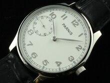 44 mm Parnis 6497 mão de relógio mostrador branco