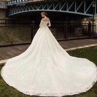 2018 Новое поступление бальное платье свадебное платье Vestido De Noiva Половина рукава Кружево бисера Длинные свадебные платья Vestito Da Sposa