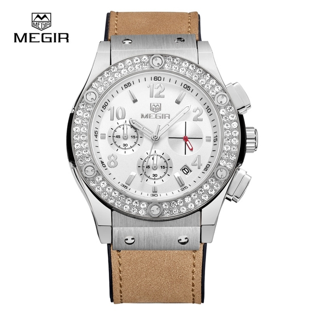 MEGIR Chronograph Women's Quartz Watch Silicone Band Crystal Watches Multi-function Date Luxury Wristwatches Lady 2034