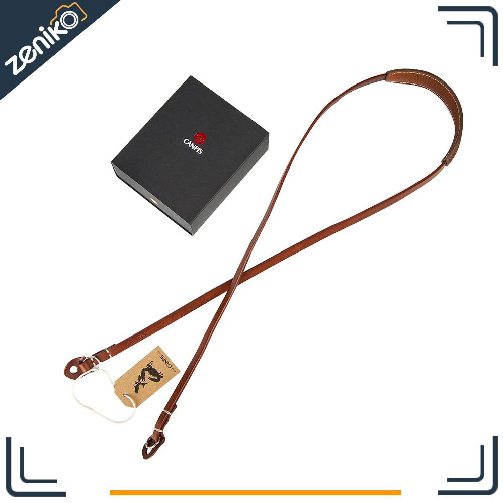 CANPIS Extra long Leather Brown Black Camera Strap with shoulder support for Micro Digital Camera
