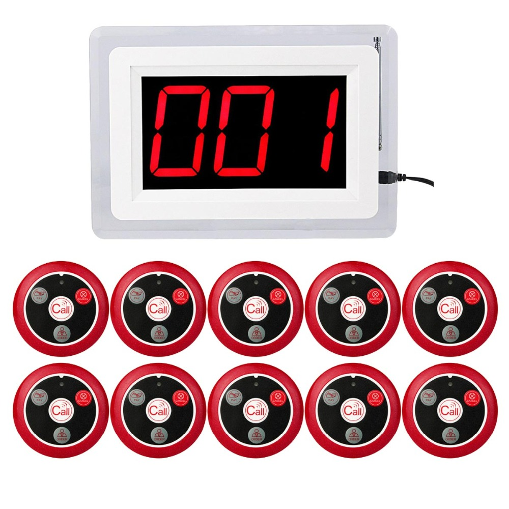 Wireless Calling System Restaurant Pager 10pcs Call Button + 1pcs Host Display with Voice Reporting Restaurant Equipment F4400 wireless restaurant call system restaurant equipment including 999 channel led display receiver with 20 pcs calling button