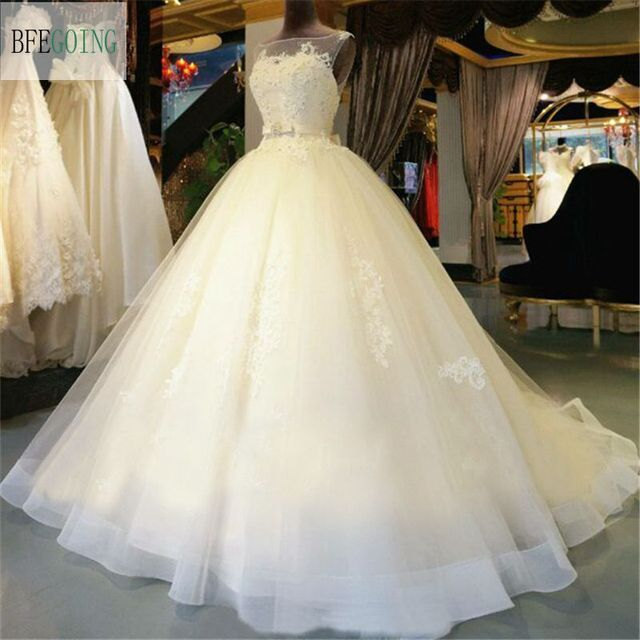 Tulle Lace Floor Length Ball Gown Wedding dress Chapel Train Lace up ...