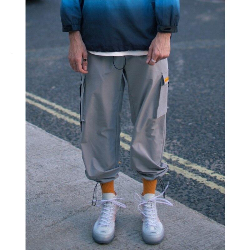 Automne haute rue hip hop sac boucle de ceinture cordon réglable faisceau pied hommes outillage pantalon