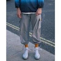 Autumn high street hip hop bag belt buckle adjustable Drawstring beam foot men's tooling pants