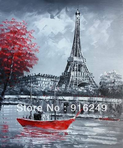 Oil Painting Paris Landscape On Canvas Black White Red High Quality