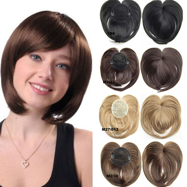 Women Synthetic Straight Top Piece Hair Bangs Toupe With Temples