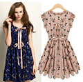 HOT SELL Europe 2016 summer new fashion ladies' leisure elegant v-neck sleeveless printed pleated chiffon dress  D-0841