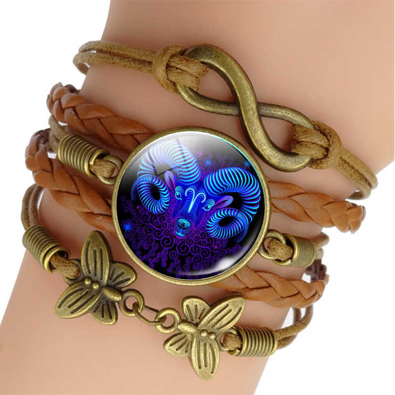 12 Zodiac Sign Woven Rope Bracelet Aquarius Pisces Aries Taurus Constellation Jewelry Birthday Gift