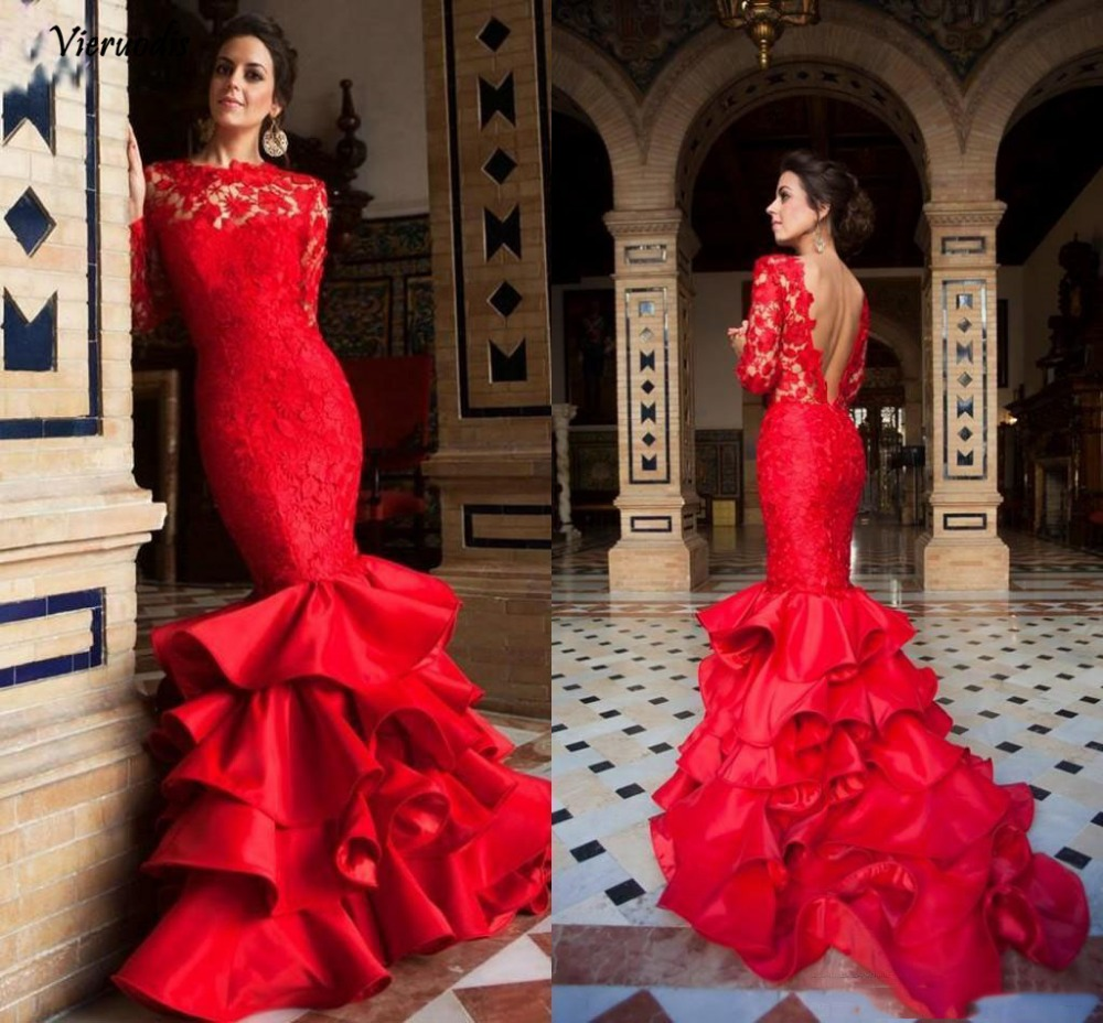 98-1 Elegant Red Mermaid Evening Dresses Lace Backless Ruffled Evening Gowns Long Sleeves Formal Prom Party Dress