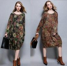 2016 Осень зима Большой размер женщин длинный вязаный платье винтаж отпечатано свободные элегантный плюс размер шерсть смешанные случайные vestidoXXXXL6236