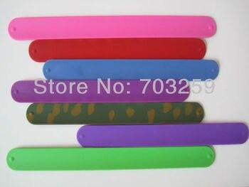 Envío Gratis 200 unids/lote cadera de silicona pulseras bofetada pulsera de silicona encaje banda bofetada en la muñeca pulsera sin logotipo