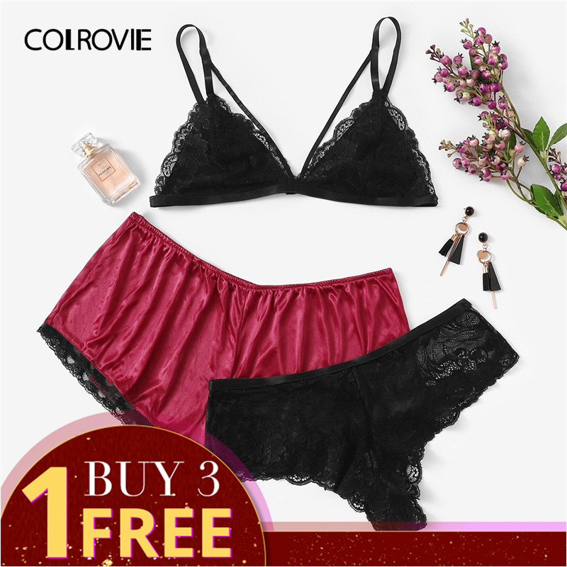 COLROVIE Plus Size Lace Sexy Lingerie   Set   With Satin Shorts 3pack 2019 Spring Fashion Wireless Intimates Underwear   Bra     Set