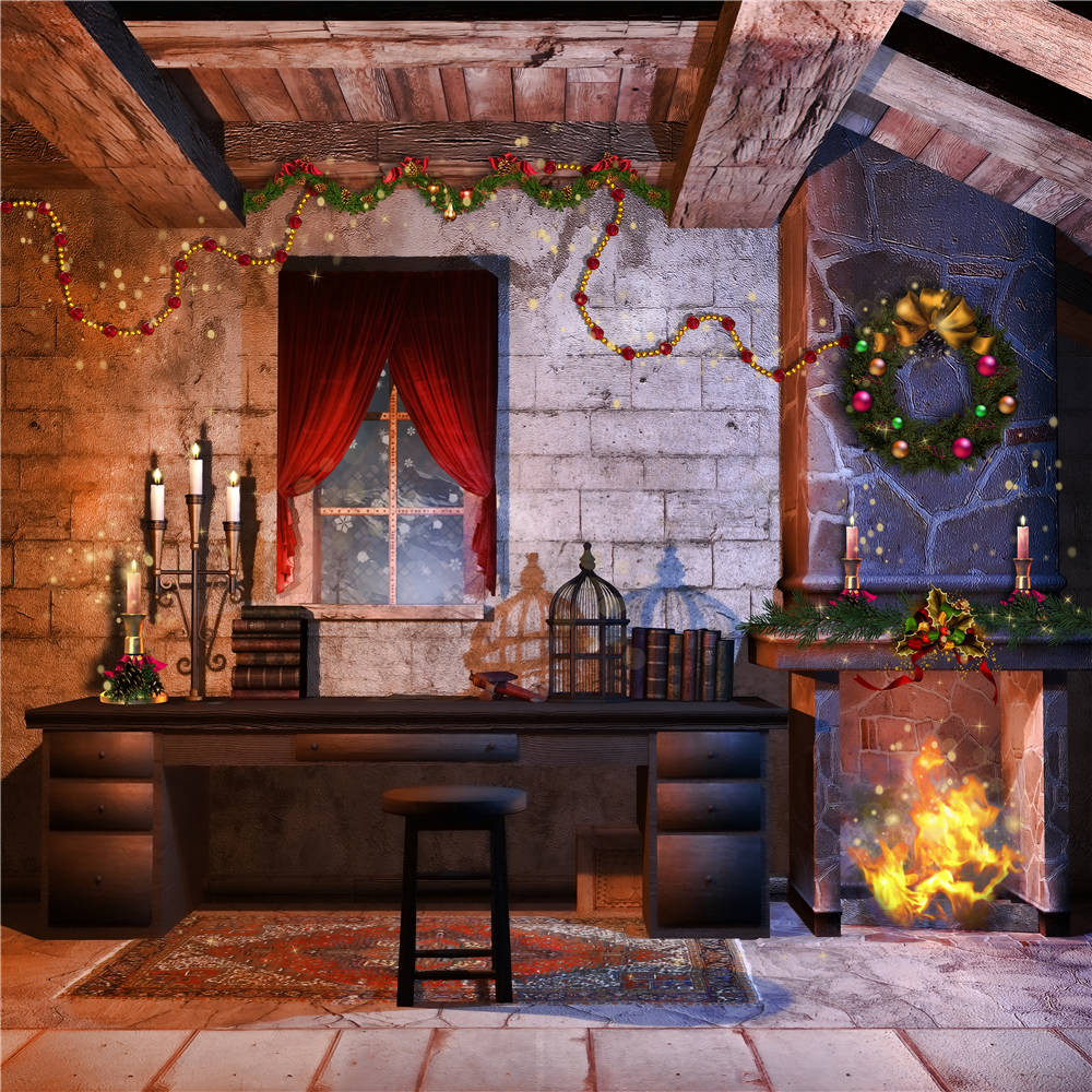 KIDNIU Vinyl Christmas Fireplace Photography Props Background Window Photo Studio Backdrops Desk 5x5FT christmas054 thin vinyl photography background photo backdrops christmas theme photography studio background props for studio 5x7ft 150x210