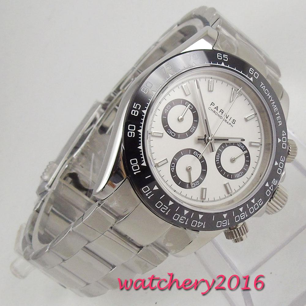 Новое поступление 39 мм Парнис белый циферблат кварцевые мужские часы прочный корпус полный хронограф