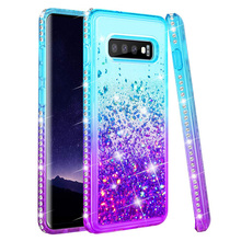 For Samsung Galaxy S9+ Plus S10 plus S10e Lite 5G Note 9 Luxury Diamond Quicksand Liquid Case Bling Sequin Glitter Cover