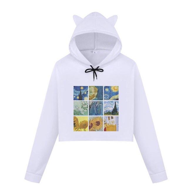 389369714955 Cute Womens Hoodies Cat Ear Long Sleeve Sweatshirt Crop Tops Van ...