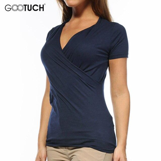 7eeba17d7344 Gootuch Summer Women s Sexy Deep V Neck Asymmetrical T Shirt Short Sleeve  Causal Irregular Tee Shirt Solid Color Plus Size 2240