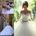 Disse Mhamad 2017 Bola de Vestido de Noiva Manga Longa vestidos de noiva Vestidos De Noiva Ata Acima Para Trás o Vestido de Casamento de Luxo para Noivas