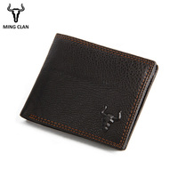 Mingclan Business Casual Wallet Men Genuine Leather Purses Men Short Wallets Slim Wallet Card Holder Thin Purses Wallet Male