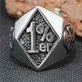 2015 Cool 316L Stainless Steel Silver Biker 1% er Skull Ring Mens Motorcycle Biker Band Party Ring