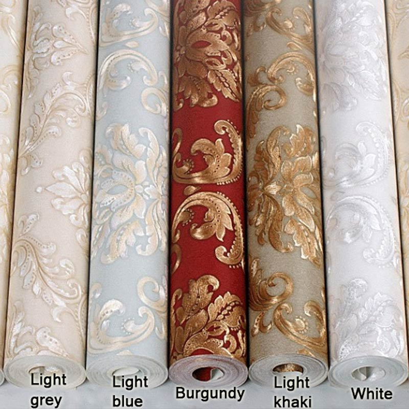 European Style Luxury 3D Embossed Damask Wallpaper Living Room TV Sofa Background Wall Home Decor PVC Waterproof Wall Paper Roll european style pvc waterproof wallpaper living room bedroom background flower wall paper roll blue coffee