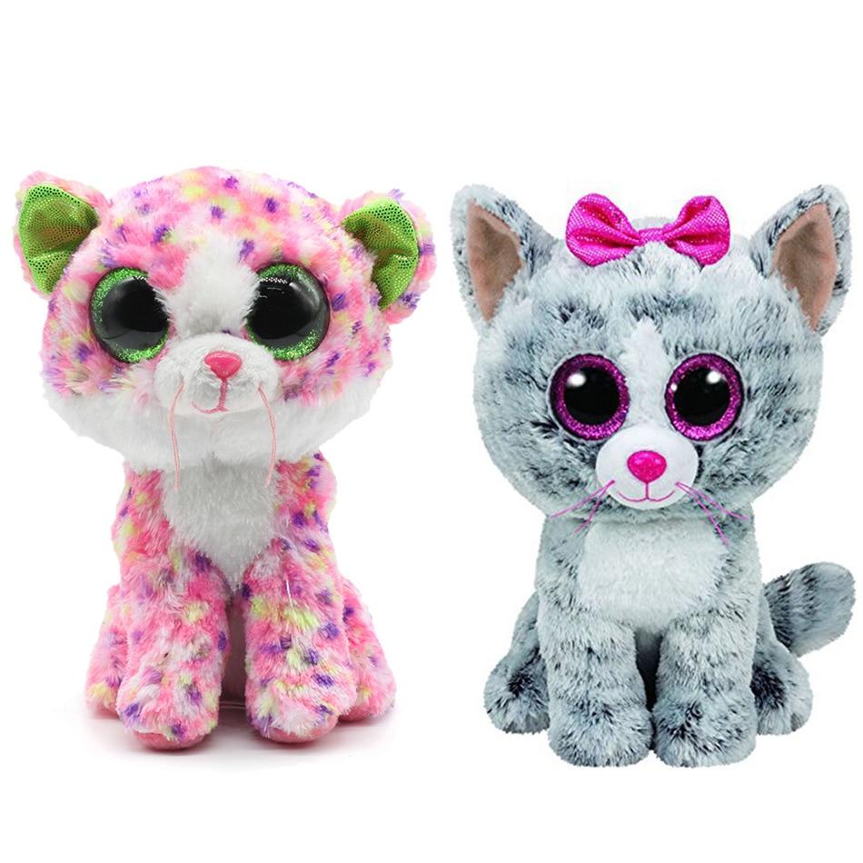 Большие глаза Набивные плюшевые игрушки Ty Beanie Боос серый Кот плюшевые игрушки куклы для маленьких девочек подарок на день рождения мягкие и... ...