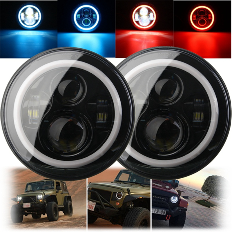 7 Inch 45/60W Hi-Lo Beam LED Headlight Head Light Lamps H4 - H13 Red Blue Full Halo Angel Eyes For Jeep/Wrangler JK TJ LJ 97-15 гарнитура hi fun hi head red blue