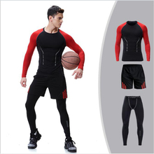 2018 new 3pcs/set men running set tracksuits sportsmen wear for fitness leggings for fitness sport suit sweatshirts clothes for