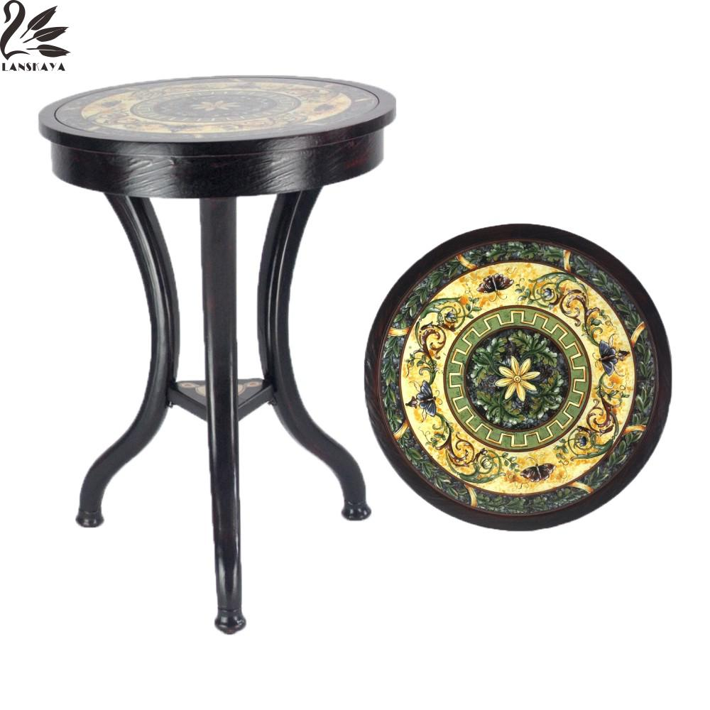Wood Coffee Table American Pastoral European Retro Round Corner Small Side Table Coffee Caffe Tea Antique Home Wooden Craft