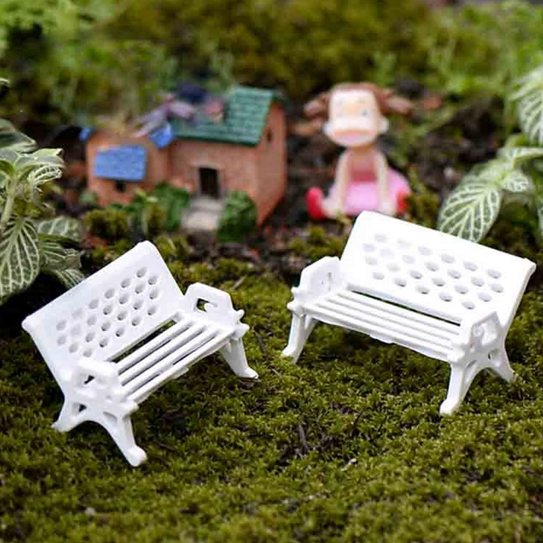 Home 2Pcs white chair bench doll house miniatures lovely cute fairy garden gnome moss terrarium decor crafts bonsai DIY