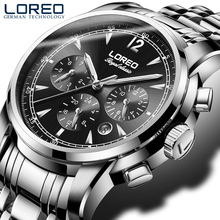 LOREO black cool automatic mechanical steel hollow luminous waterproof scratch resistant sapphier glass luxury simple male watch