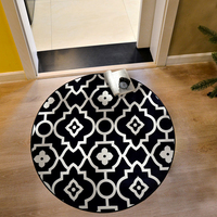 Black And White Grille Pattern Design Mat In The Hall 360 Rotatable Slip Resistant Pad Room Oval Carpet Floor Mats Floor Door