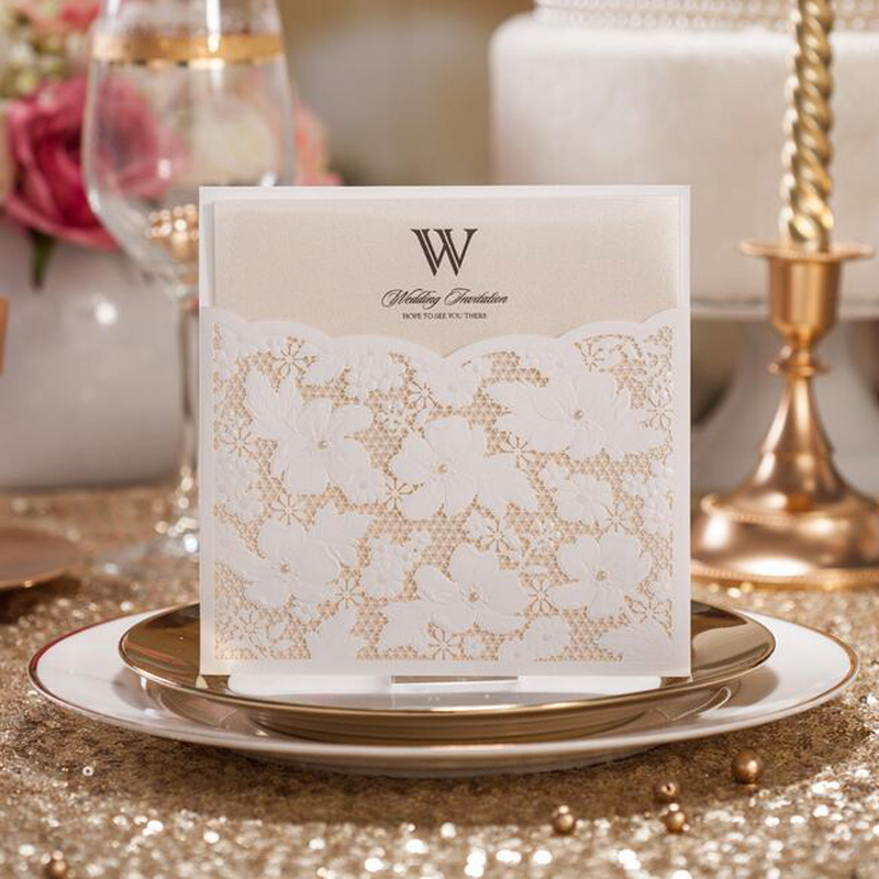 50pcs White Hollow Elegant Flower Laser Cut Wedding Invitations Card Greeting Post Card Wedding Decoration Event Party Supplies 50pcs gold red laser cut hollow flower marriage wedding invitation cards 3d card greeting cards postcard event party supplies