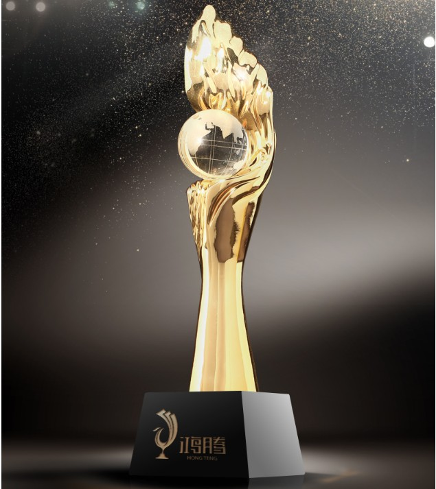 High quality!Resin trophy, gold plated high-grade metal trophy, five pointed star trophy,Free shipping gold mtv trophy replica 1 1 size statue moonman prop high quality silver plated 1 1kg