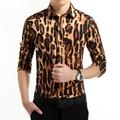 De alta Calidad de La Manera Europea Para Hombre de Algodón Ocasional Clásico del Ajustado Único Escote Estilo de Manga Larga Leopard Slim Fit Shirt