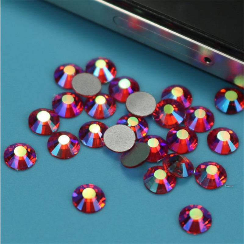 High Quality SS3-SS34 Sizes Glass Orange Hyacinth AB Non Hotfix Flatback Nail Rhinestoens For Nails 3D Nail Art Decoration Gems pegasi high quality 5pcs 50 sizes hss