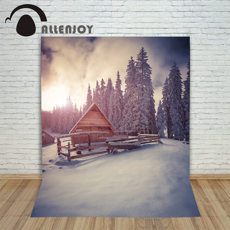 Allenjoy vinyl photography backdrop Christmas Chalet Forest Winter children's Background for photo shoots fabric