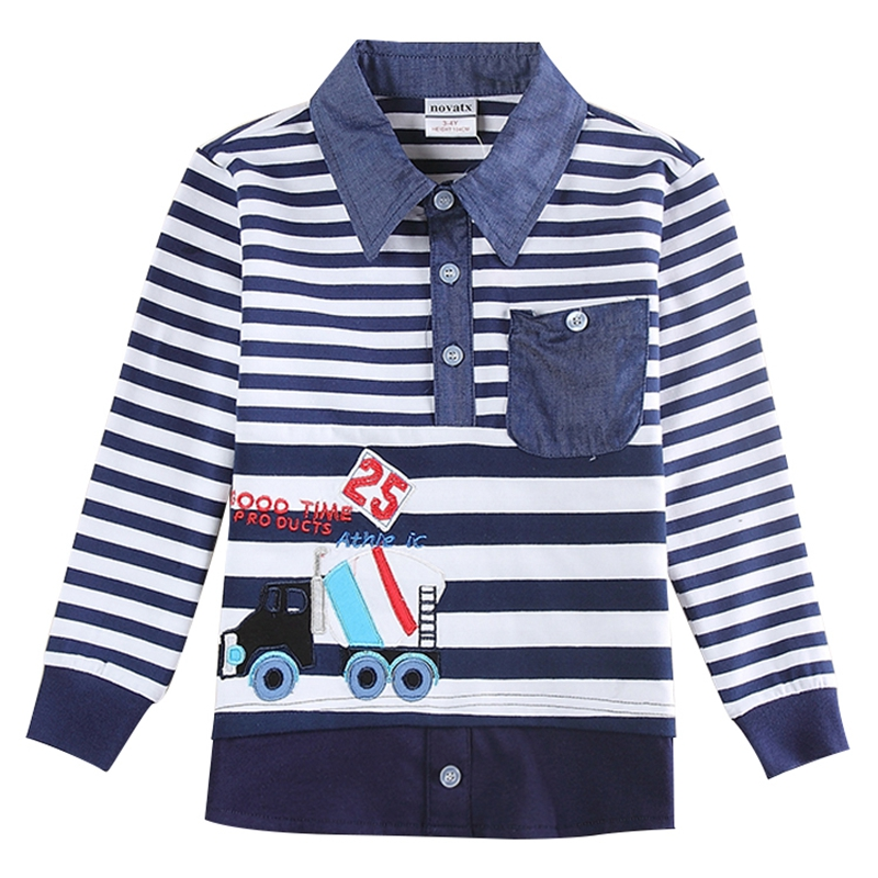 be479512c novatx baby boy clothes boys t-shirts kids clothing embroidery turn-down  spring autumn bobo choses children shirts tees A5832