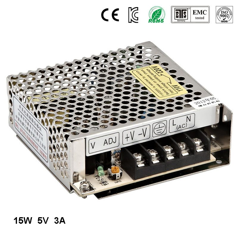 Best quality 5V 3A 15W Switching Power Supply Driver for LED Strip AC 100-240V Input to DC 5V free shipping 1200w 12v 100a adjustable 220v input single output switching power supply for led strip light ac to dc