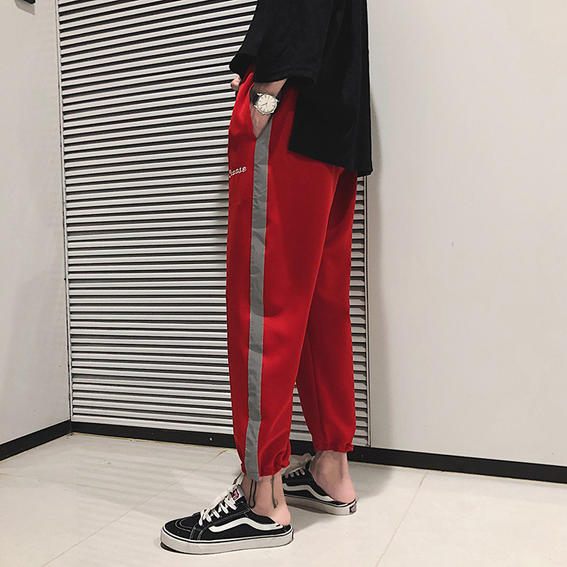 Summer Gules Thin Nine Part Lovers Trend Korean Ankle Banded Pants Student personality city fashion casual letter Free shipping