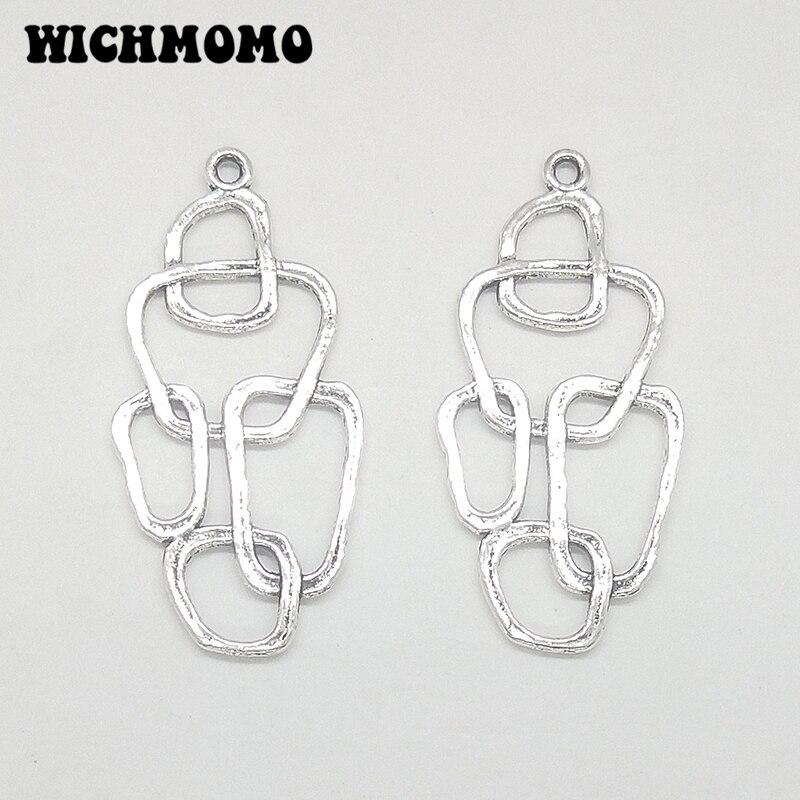 2019 New Fashion 41*20MM 10pcs Retro Silver Zinc Alloy Geometry Shape Tassel Loop Linker For DIY Earring Connectors Charms