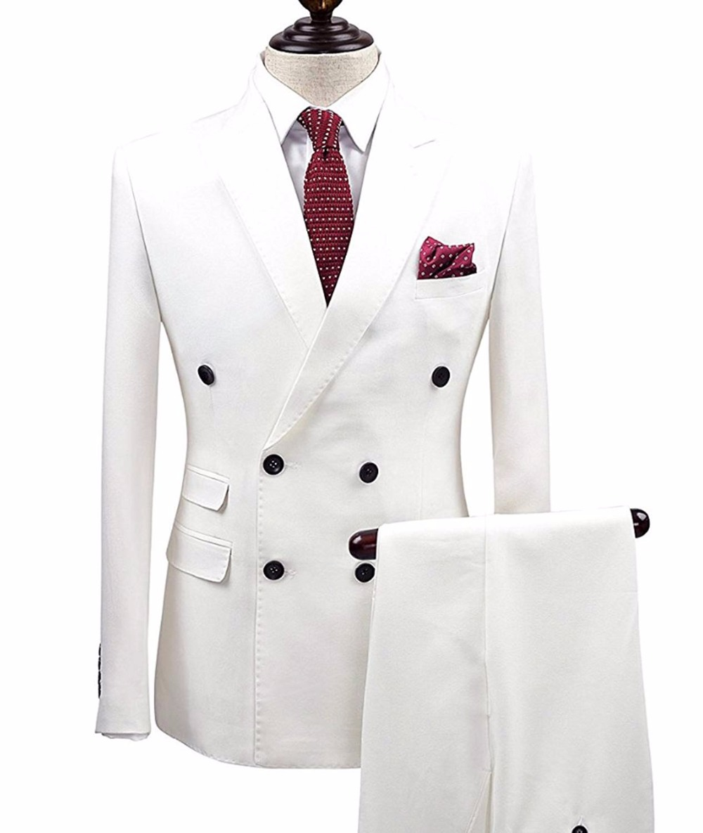2 Pieces White Double Breasted Solid 2 Piece Slim Fit Mens Suit Notch Lapel One Button Tuxedo  Jacket Pants Set ( Blazer+Pant)-in Suits from Men's Clothing    3
